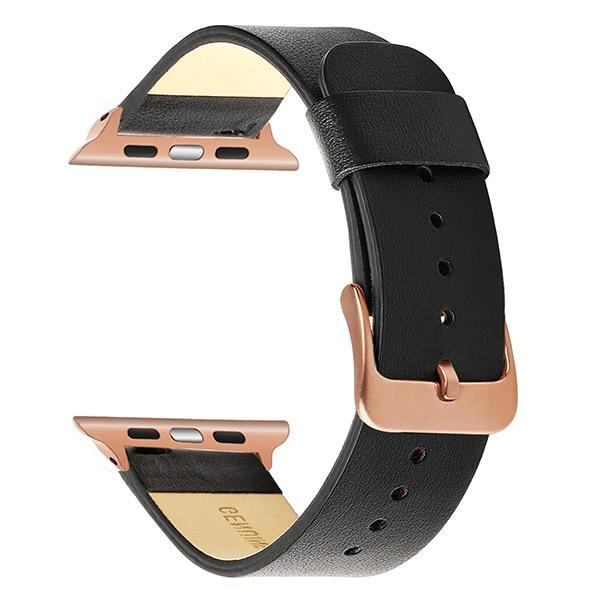 Apple Black RG / 38mm Apple Watch Series 5 4 3 2 Band, Simple Minimalist Genuine Leather Watchband Steel Clasp Strap Bracelet 38mm, 40mm, 42mm, 44mm