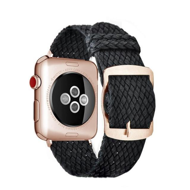 Apple Black Rose / 44mm Apple Watch Series 5 4 3 2 Band, Soft Breathable Nylon Polyester Watch, Sport Bracelet Strap for iWatch 38mm, 40mm, 42mm, 44mm