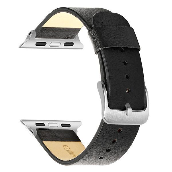 Apple Black S / 38mm Apple Watch Series 5 4 3 2 Band, Simple Minimalist Genuine Leather Watchband Steel Clasp Strap Bracelet 38mm, 40mm, 42mm, 44mm