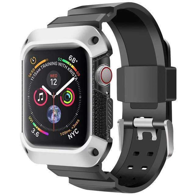 Apple black silver / 38mm/40mm Apple Watch band Sport Case strap silicone waterproof For  44mm 40mm iwatch Series 4 correa Rugged TPU screen Protective cover & bracelet wrist belt