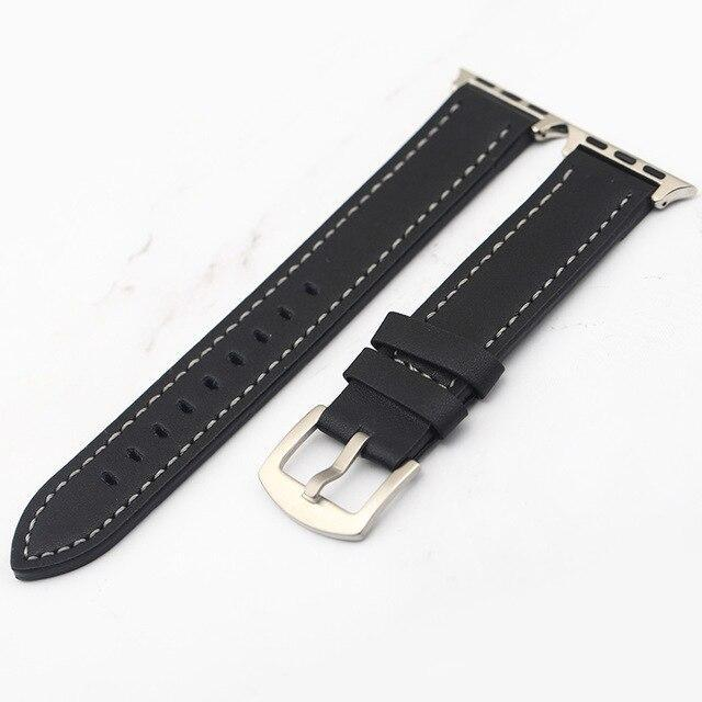 Apple black white line / 38mm Plus Strap Cowhide Faux leather Retro Design Watch Strap 38 42mm Replacement For Apple Watch 135*80mm Lengthen Watchband