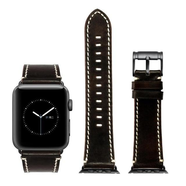 Apple Black with black / for Apple Watch 40mm Durable Faux Leather iWatch Band 42mm 38mm / 44mm 40mm for  Apple Watch Series 4 3 2 1 for Apple Watch Strap