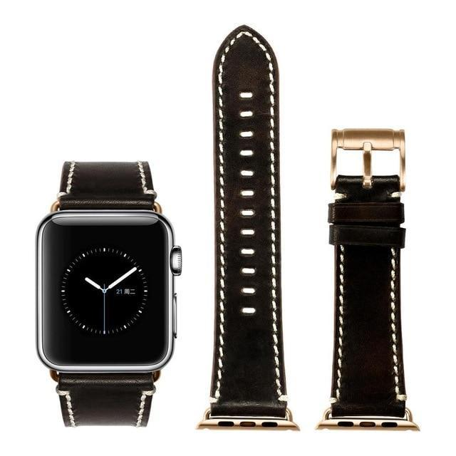 Apple Black with rose gold / for Apple Watch 40mm Durable Faux Leather iWatch Band 42mm 38mm / 44mm 40mm for  Apple Watch Series 4 3 2 1 for Apple Watch Strap