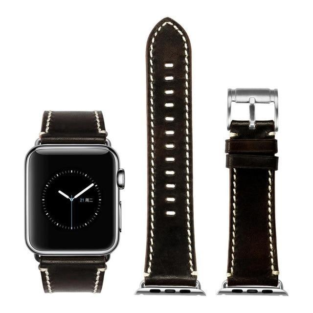 Apple Black with silver / for Apple Watch 40mm Durable Faux Leather iWatch Band 42mm 38mm / 44mm 40mm for  Apple Watch Series 4 3 2 1 for Apple Watch Strap