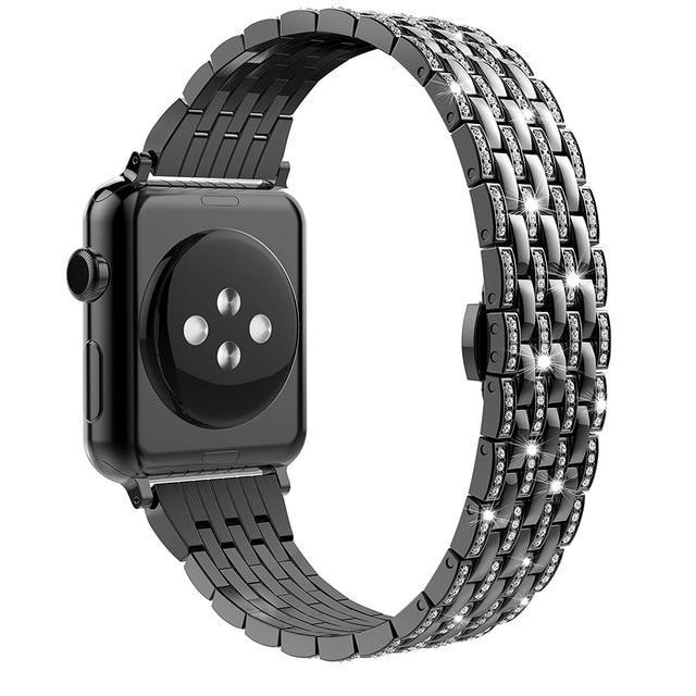 Apple black1 / 38mm Luxury Diamond Case matching strap Stainless Steel strap For Apple Watch Series 4 3 2 1 bands cover iWatch 38mm 42mm 40mm 44mm bracelet women
