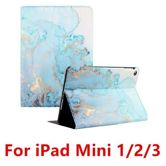 Apple Blue 123 For iPad 9.7 2017 2018 Case A1893 Silicone Soft Back Marble PU Leather Smart Cover for iPad Air 2 1 Pro 10.5 Mini 1 2 3 4 Funda