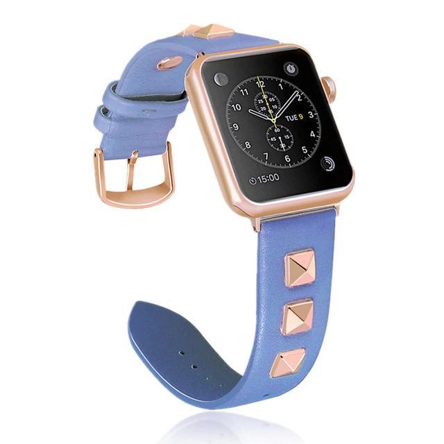 Apple Blue / 38mm / 40mm Apple Watch Band, Punk Studded Leather Rivets studs Design, fits iWatch, 38mm, 40mm, 42mm, 44mm  Series 5 4 3