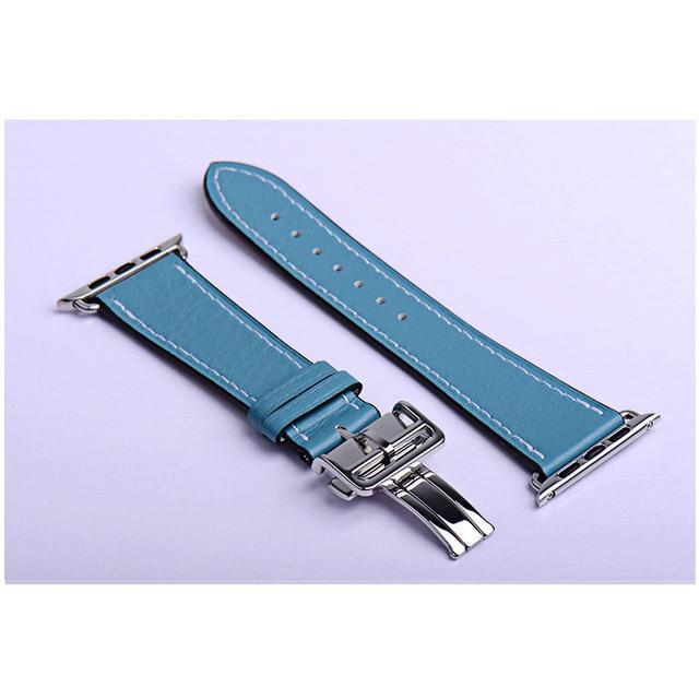 Apple blue / 38mm Apple Watch Series 5 4 3 2 Band, Leather strap Deployment Buckle watch Strap watchband Hermes 38mm, 40mm, 42mm, 44mm - US Fast Shipping