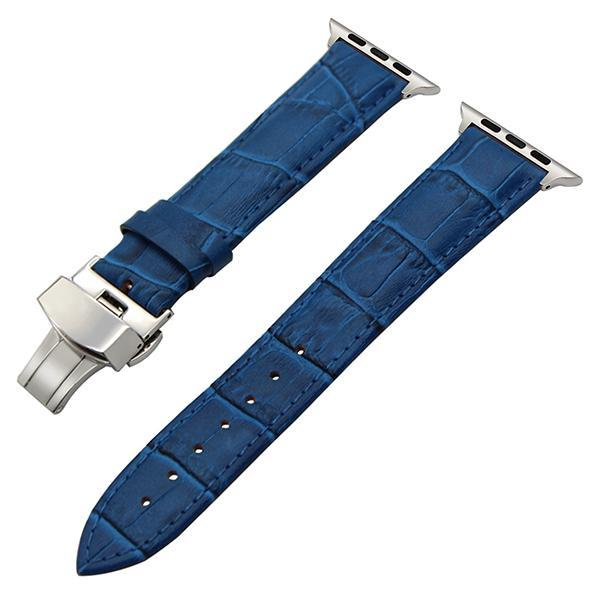 Apple Blue / 38mm Faux Leather Watchband for 38mm 40mm 42mm 44mm iWatch Apple Watch Series 4 3 2 1 Band Butterfly Buckle Strap Bracelet