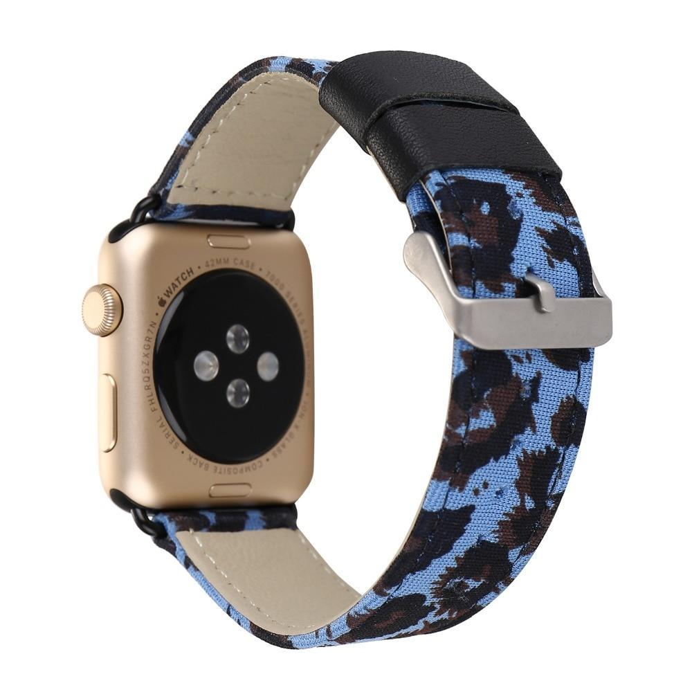 Apple Blue / 38mm Leopard Printed Leather Watchband Strap Band for Apple Watch 38mm 42mm Series 1 /2 Wrist Band Bracelet