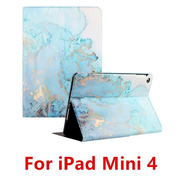 Apple Blue  4 For iPad 9.7 2017 2018 Case A1893 Silicone Soft Back Marble PU Leather Smart Cover for iPad Air 2 1 Pro 10.5 Mini 1 2 3 4 Funda