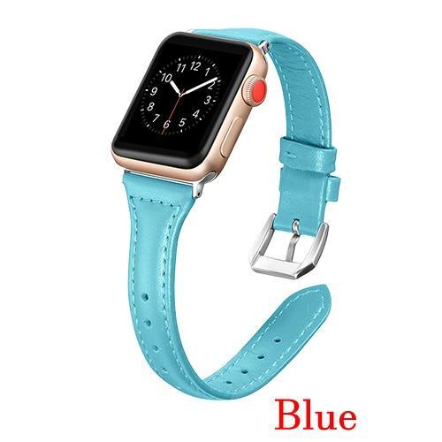 Apple Blue / 42mm 44mm AW Pulseira strap For apple watch band iwatch 4 3 42mm 38mm 44mm 40mm correa for apple watch band leather Bracelet Accessories, USA Fast Shipping