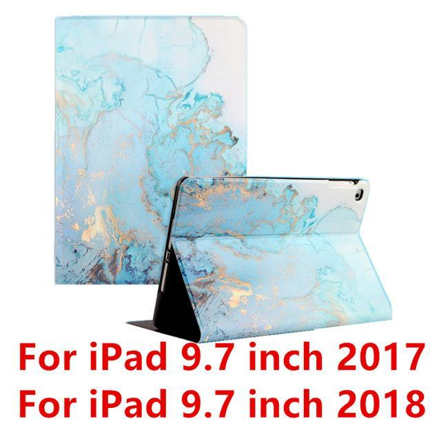Apple Blue  9.7 2017 For iPad 9.7 2017 2018 Case A1893 Silicone Soft Back Marble PU Leather Smart Cover for iPad Air 2 1 Pro 10.5 Mini 1 2 3 4 Funda