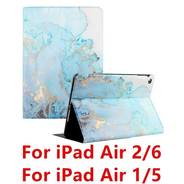Apple Blue Air 1 For iPad 9.7 2017 2018 Case A1893 Silicone Soft Back Marble PU Leather Smart Cover for iPad Air 2 1 Pro 10.5 Mini 1 2 3 4 Funda