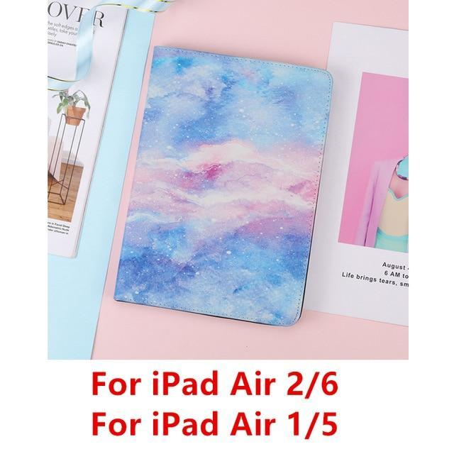Apple Blue Air 115 For iPad 9.7 2017 2018 Case A1893 Silicone Soft Back Marble PU Leather Smart Cover for iPad Air 2 1 Pro 10.5 Mini 1 2 3 4 Funda