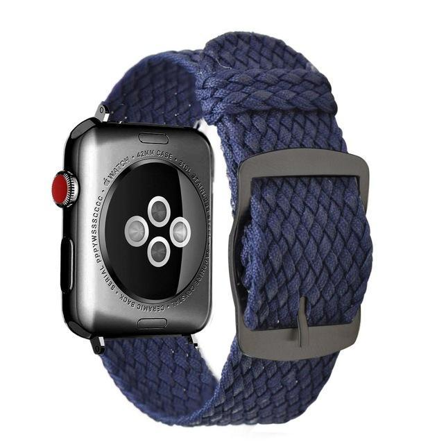 Apple Blue Black / 44mm Apple Watch Series 5 4 3 2 Band, Soft Breathable Nylon Polyester Watch, Sport Bracelet Strap for iWatch 38mm, 40mm, 42mm, 44mm