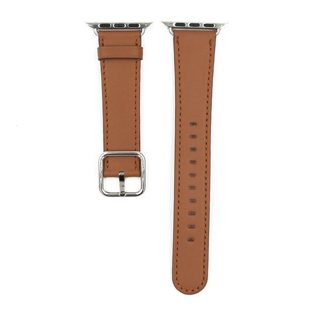 Apple Brown / 38mm / 40mm Apple Watch Series 5 4 3 2 Band, Classic Buckle Band for iWatch Calf Leather With Square Buckle Modern Design 38mm, 40mm, 42mm, 44mm