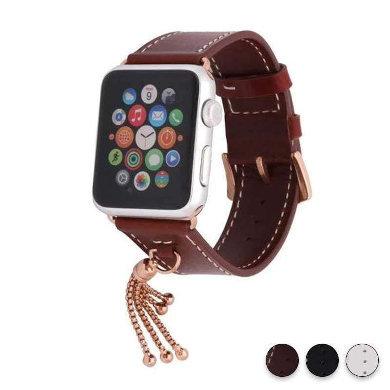 Apple Brown / 38mm / 40mm Apple Watch Series 5 4 3 2 Band, Rose gold Watch band Women Fashion Tassels Cowhide Genuine Leather Strap 38mm, 40mm, 42mm, 44mm