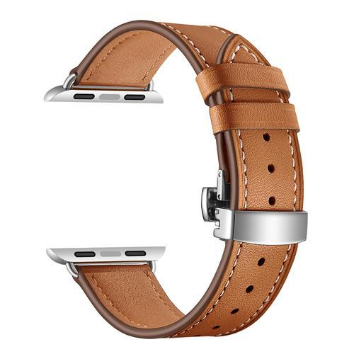 Apple brown / 38mm Apple Watch Series 5 4 3 2 Band, Leather Strap Butterfly Clasp watchband Bracelet and Pin Buckle 38mm, 40mm, 42mm, 44mm US Fast Shipping
