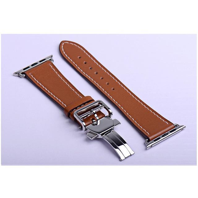 Apple brown / 38mm Apple Watch Series 5 4 3 2 Band, Leather strap Deployment Buckle watch Strap watchband Hermes 38mm, 40mm, 42mm, 44mm - US Fast Shipping