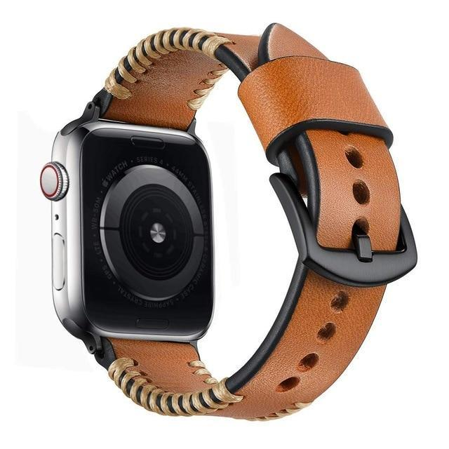 Apple Brown / 38MM Apple Watch Series 5 4 3 2 Band, Watch Strap White Wire Genuine Leather Strap  Watchband for iWatch 38mm, 40mm, 42mm, 44mm