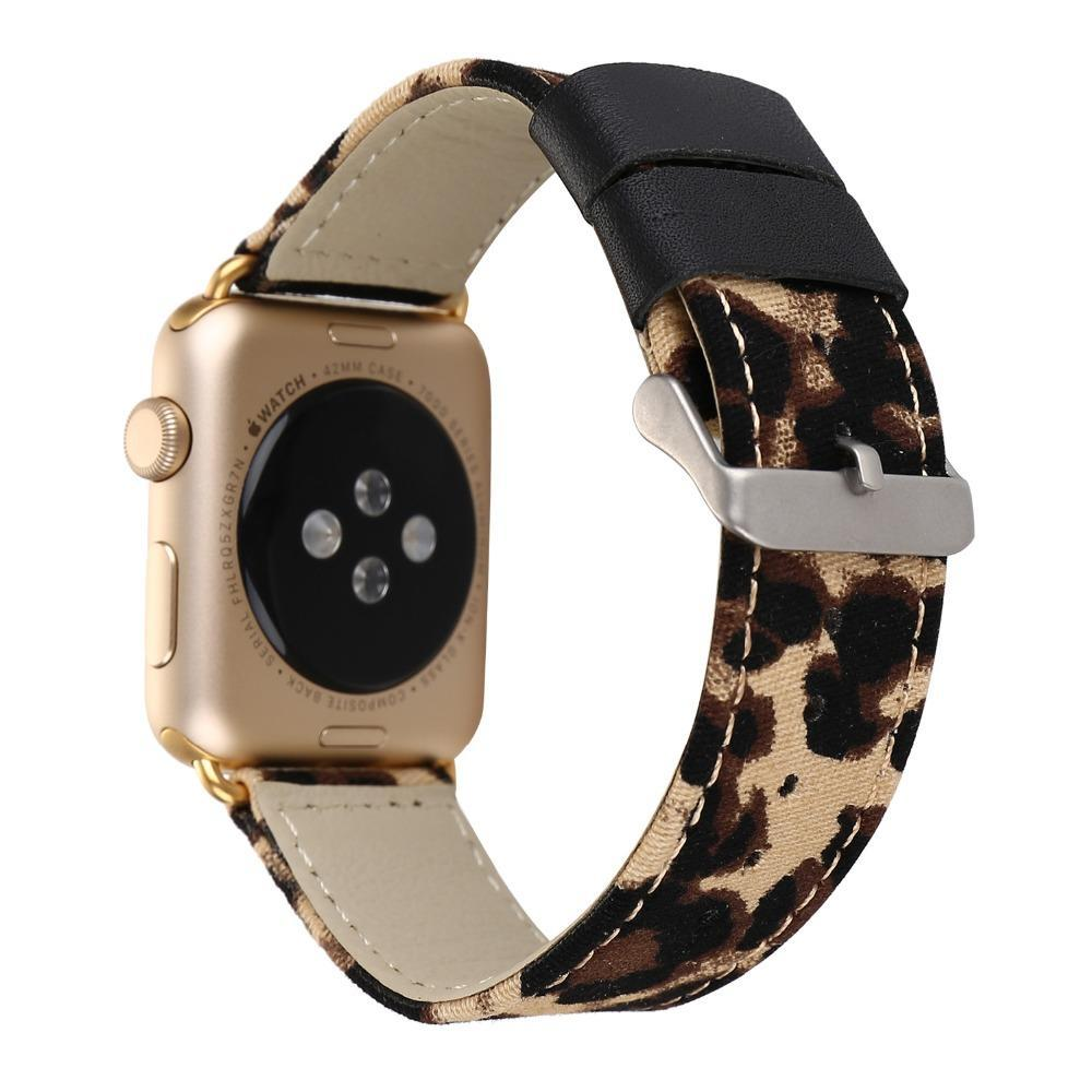 Apple Brown / 38mm Leopard Printed Leather Watchband Strap Band for Apple Watch 38mm 42mm Series 1 /2 Wrist Band Bracelet