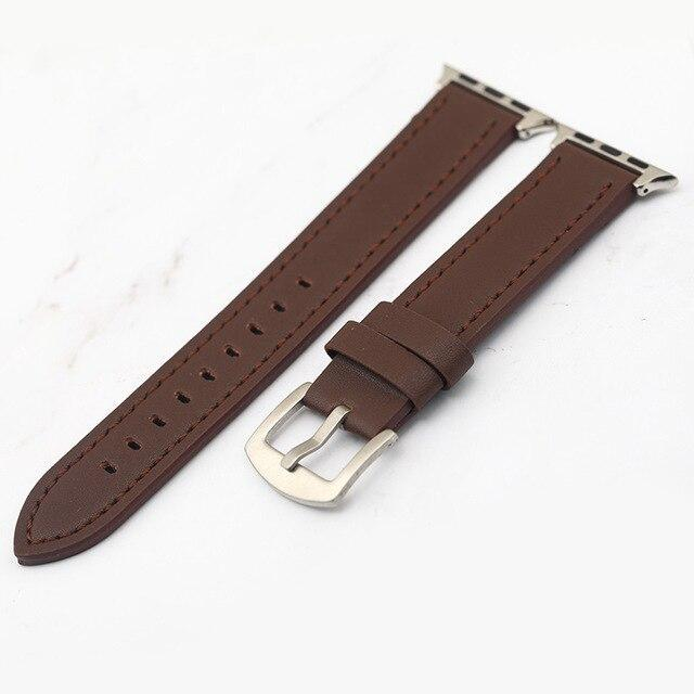 Apple Brown / 38mm Plus Strap Cowhide Faux leather Retro Design Watch Strap 38 42mm Replacement For Apple Watch 135*80mm Lengthen Watchband