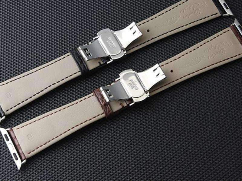 Apple Brown / 42mm / 44mm Apple Watch Series 5 4 3 2 Band, Genuine Crocodile Leather, Silver Butterfly Buckle Strap Black and Brown 38mm, 40mm, 42mm, 44mm