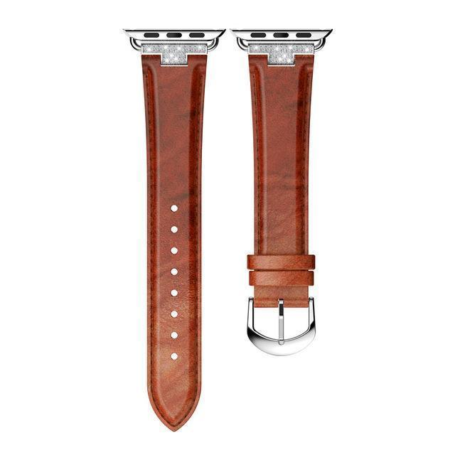 Apple Brown / 42mm / 44mm Apple Watch Series 5 4 3 2 Band, Luxury Leather Formal Strap for iWatch  38mm, 40mm, 42mm, 44mm
