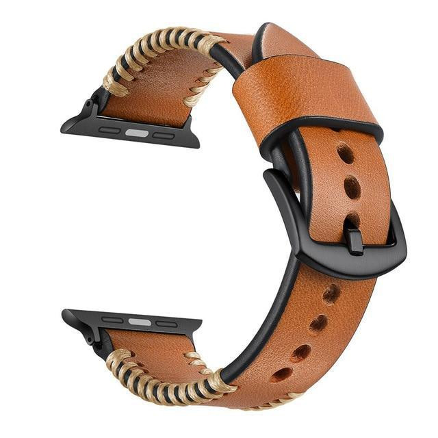 Apple Brown / 44mm Handmade Watch Strap for Apple Watch Band 42mm 38mm for iWatch 4/5 40mm 44mm Watchband for Apple watch Series 1&2&3&4&5