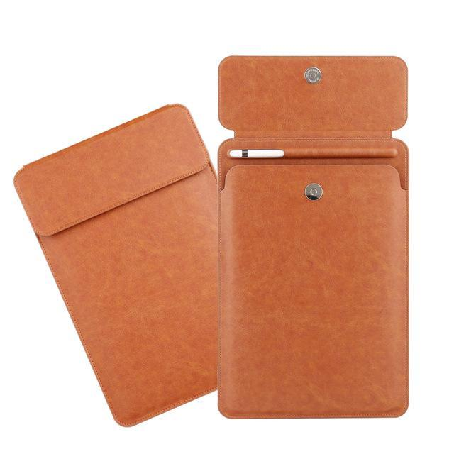 Apple brown iPad Pro 10.5  sleeve Pouch Bag cover with Button flap and Pencil holder fits  9.7 & new ipad 11 2018 Release