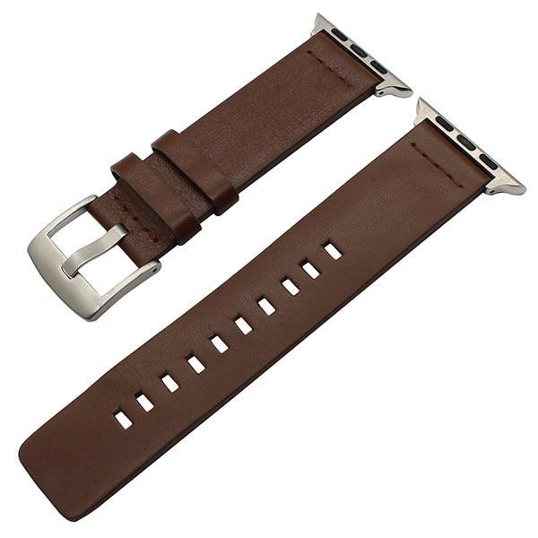 Apple Brown S / 38mm Genuine Leather Watchband for iWatch Apple Watch 38mm 40mm 42mm 44mm Series 1 2 3 4 Band Steel Buckle Strap Bracelet