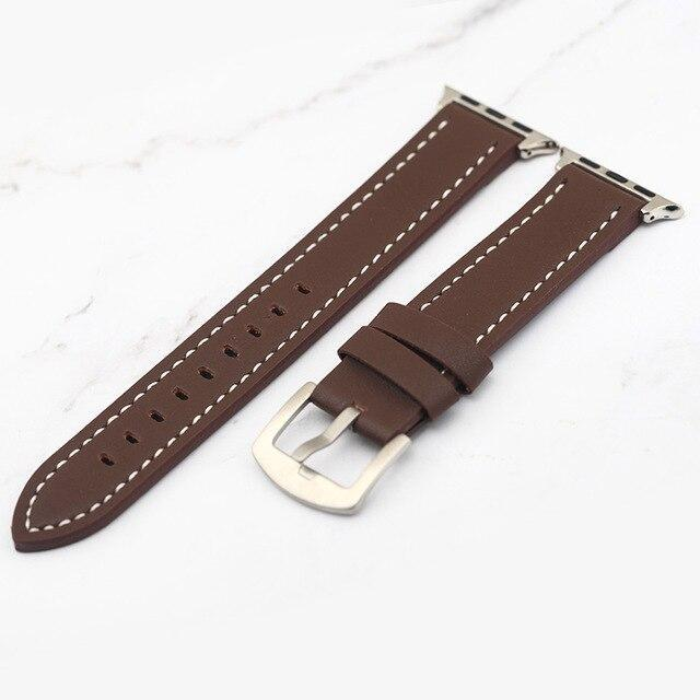 Apple brown white line / 38mm Plus Strap Cowhide Faux leather Retro Design Watch Strap 38 42mm Replacement For Apple Watch 135*80mm Lengthen Watchband