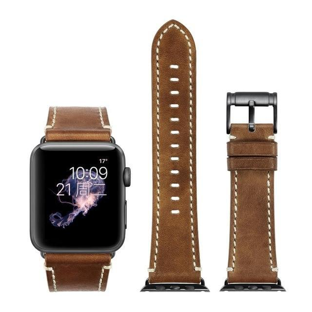 Apple Brown with black / for Apple Watch 40mm Durable Faux Leather iWatch Band 42mm 38mm / 44mm 40mm for  Apple Watch Series 4 3 2 1 for Apple Watch Strap