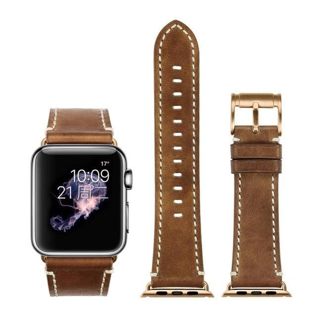 Apple Brown with rose gold / for Apple Watch 40mm Durable Faux Leather iWatch Band 42mm 38mm / 44mm 40mm for  Apple Watch Series 4 3 2 1 for Apple Watch Strap