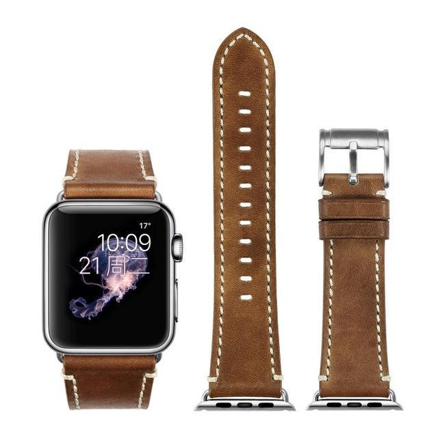 Apple Brown with silver / for Apple Watch 40mm Durable Faux Leather iWatch Band 42mm 38mm / 44mm 40mm for  Apple Watch Series 4 3 2 1 for Apple Watch Strap