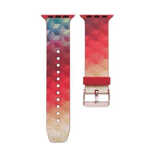 Apple C9 / 38mm 40mm watch New Brand Silicone Sports Band Boho chic print pattern, Colorful wrist Strap 38 44mm for Apple Watch bands 42mm Bracelet iwatch Series 4 3 2 1 Bohemian watchbands