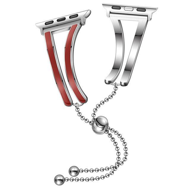 Apple China / silver-red / 38mm-40mm Jewelry strap for Apple watch band 38mm 42mm iWatch band 44mm 40mm Stainless steel watchband bracelet Apple watch 4 3 2 1 38/40