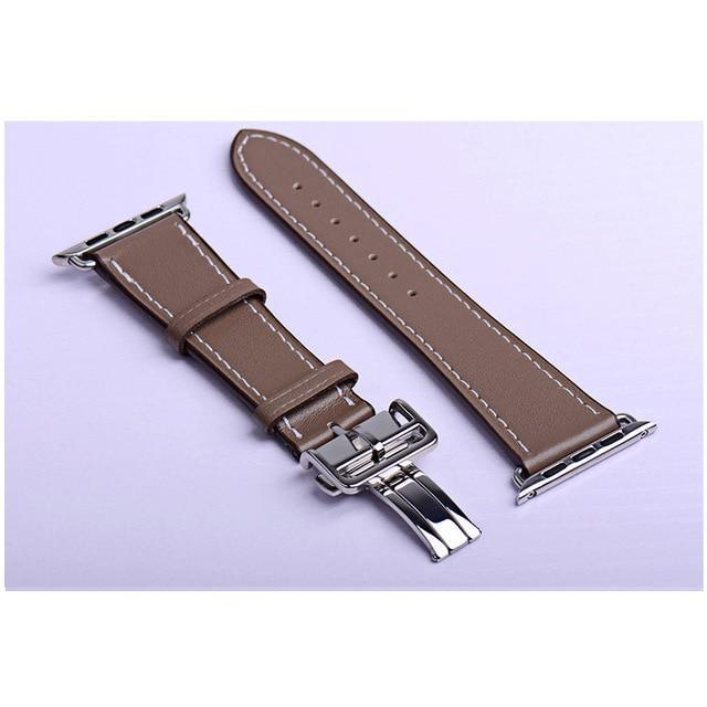 Apple coffee / 38mm Apple Watch Series 5 4 3 2 Band, Leather strap Deployment Buckle watch Strap watchband Hermes 38mm, 40mm, 42mm, 44mm - US Fast Shipping