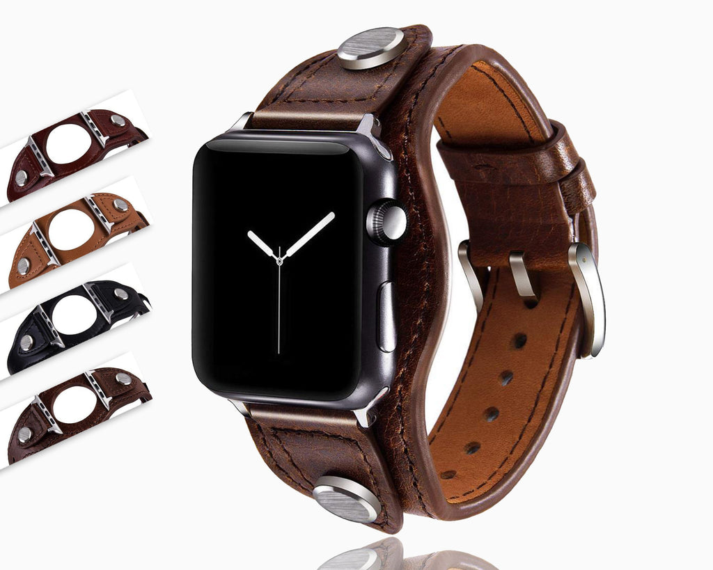 Apple Cuff Bracelets Bands for Apple Watch 38mm 42mm 40mm 44mm Iwatch Series 5 4 3 2 1, Leather Jewelry Wristband Strap for Women Men