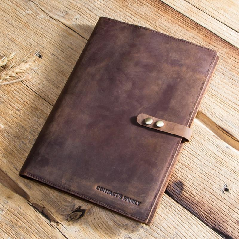 Apple Custom Handmade Genuine Cow Leather Case For iPad Pro 9.7 10.5 11 Air 1 2 5 6 Mini MacBook 12 inch Tablet Laptop Pouch Notebook Bag
