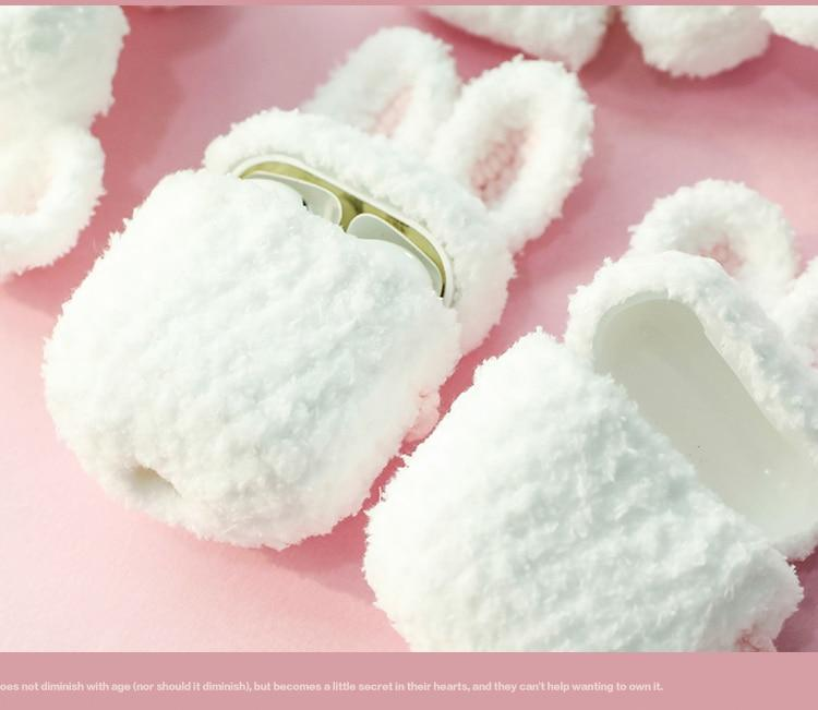 Apple Cute white rabbit knitted Case for Apple Airpods Case Bluetooth Earphone Headphone Accessories Charging Box Bag