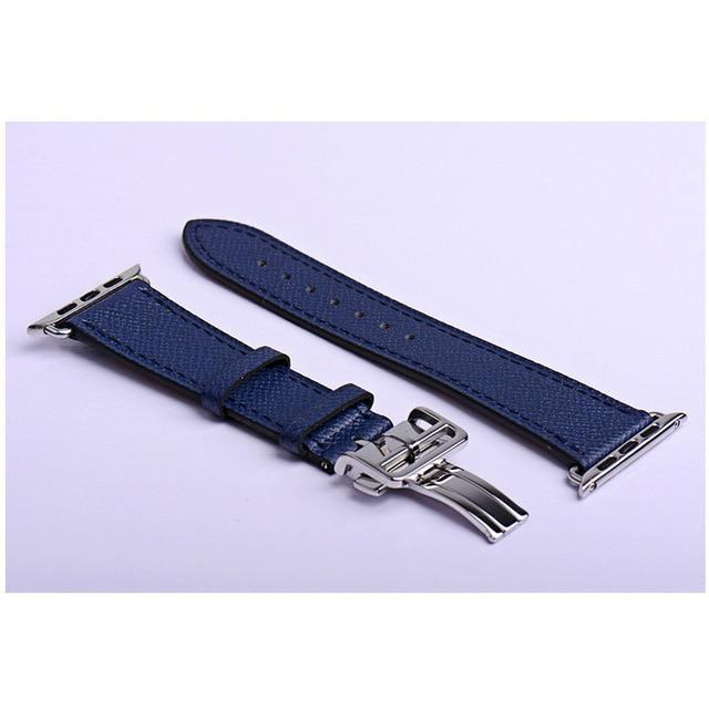 Apple dark blue / 38mm Apple Watch Series 5 4 3 2 Band, Leather strap Deployment Buckle watch Strap watchband Hermes 38mm, 40mm, 42mm, 44mm - US Fast Shipping