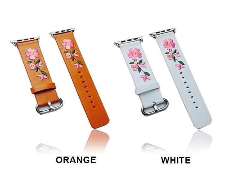 Apple Faux Leather Watchband For Apple Watch 38mm 42mm Red Flower Embroidery Women Men Replace Bracelet Strap Band for iwatch 1 2 3