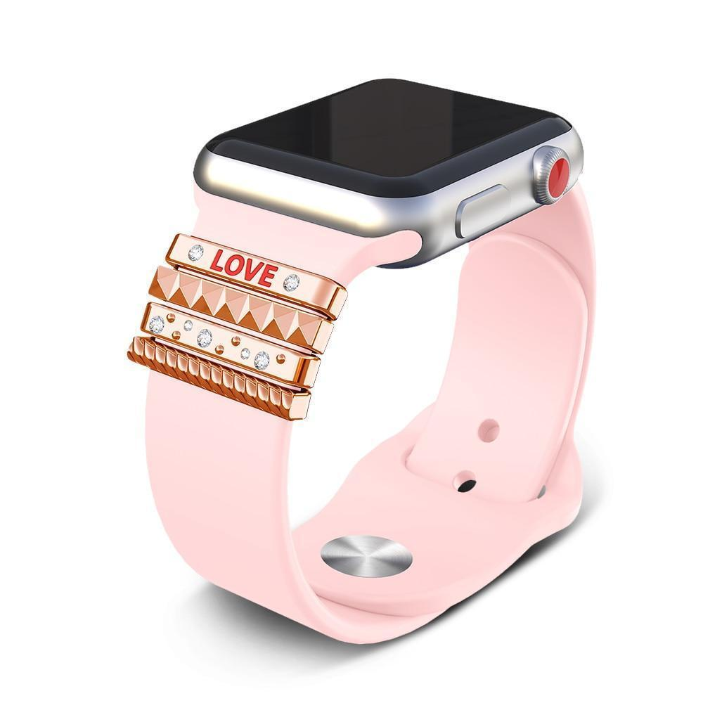 "Apple Fits 38mm only, Original Silicone Strap Ornament for Apple Watch Band Series 1 2 3 4 Stainless Steel Metal women's Decorative Ring loop ""LOVE"" Gift"