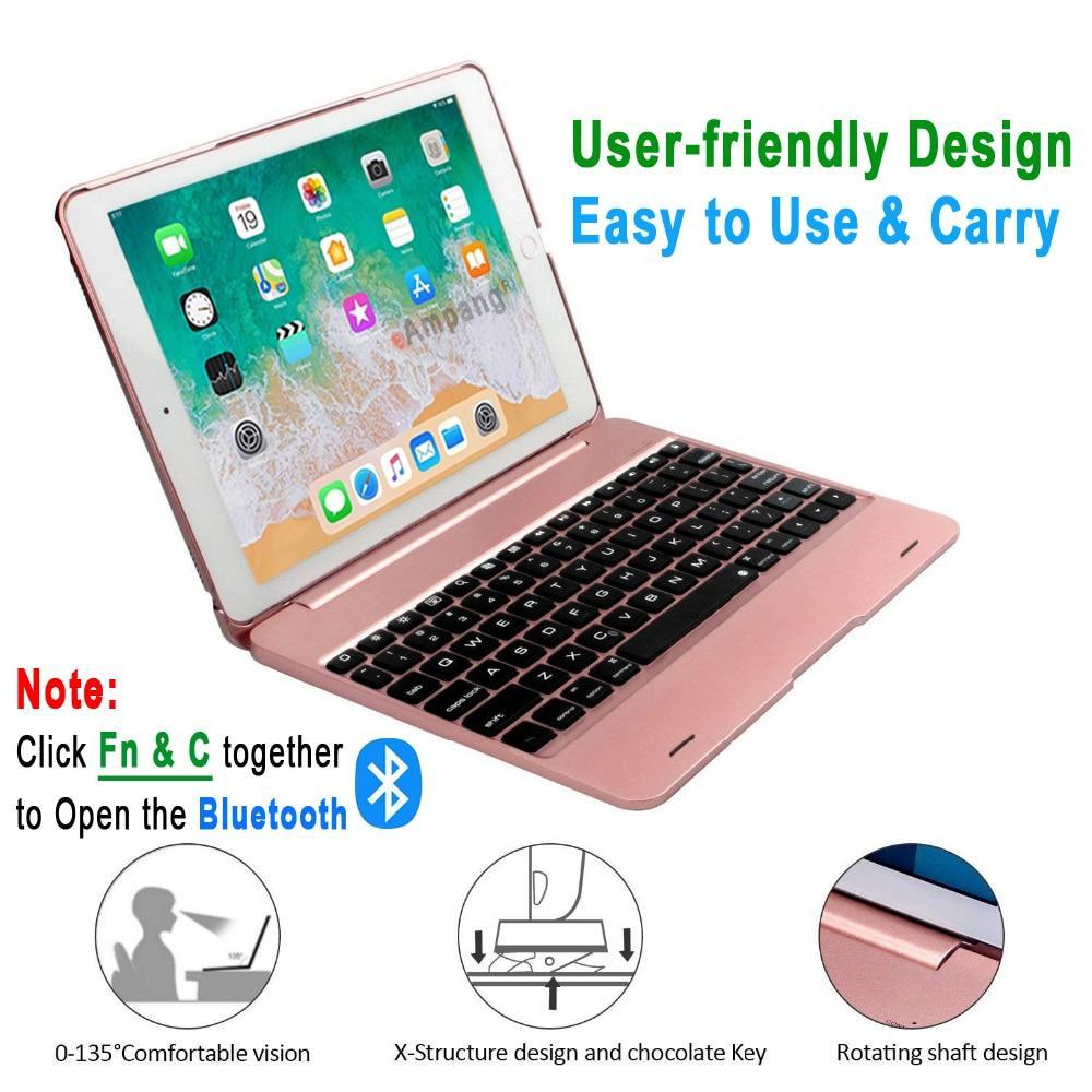 Apple Folding Laptop Design Wireless Bluetooth Keyboard Cover for Apple iPad 9.7 2017 2018 5th 6th Generation Air 1 2 5 6 Pro 9.7 Case