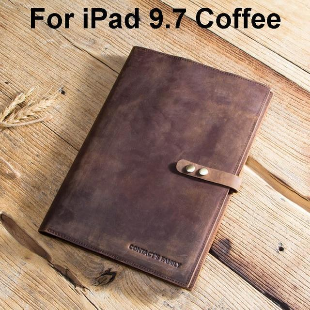 Apple For iPad 9.7 Coffee Custom Handmade Genuine Cow Leather Case For iPad Pro 9.7 10.5 11 Air 1 2 5 6 Mini MacBook 12 inch Tablet Laptop Pouch Notebook Bag
