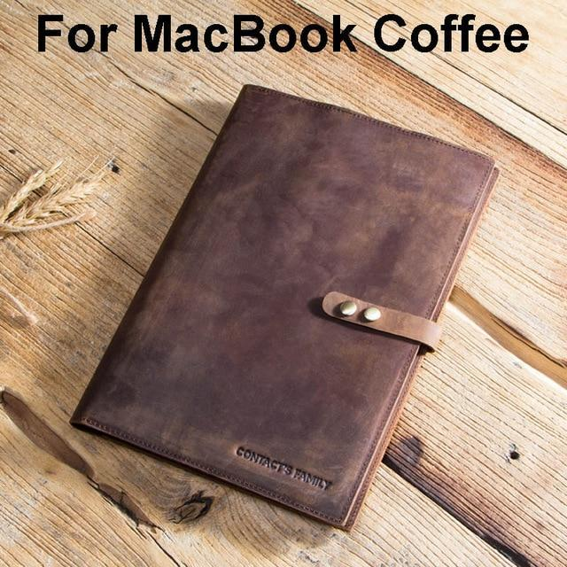 Apple For MacBook Coffee Custom Handmade Genuine Cow Leather Case For iPad Pro 9.7 10.5 11 Air 1 2 5 6 Mini MacBook 12 inch Tablet Laptop Pouch Notebook Bag