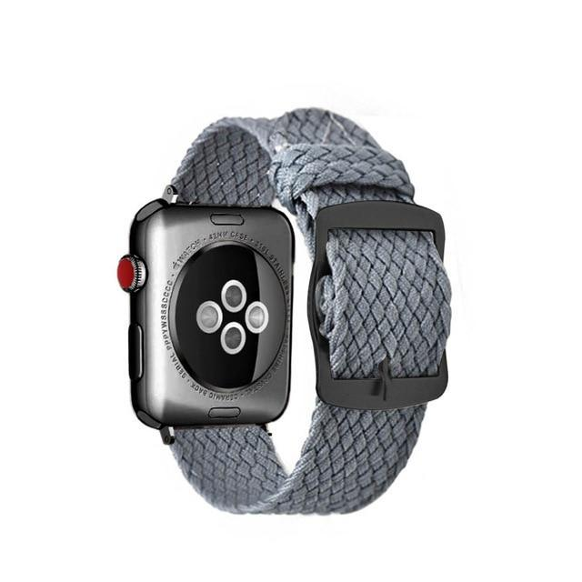 Apple Gary Black / 44mm Apple Watch Series 5 4 3 2 Band, Soft Breathable Nylon Polyester Watch, Sport Bracelet Strap for iWatch 38mm, 40mm, 42mm, 44mm