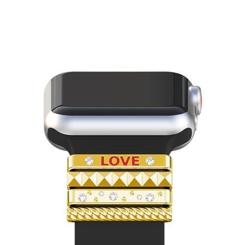 "Apple Gold / 38 mm Fits 38mm only, Original Silicone Strap Ornament for Apple Watch Band Series 1 2 3 4 Stainless Steel Metal women's Decorative Ring loop ""LOVE"" Gift"